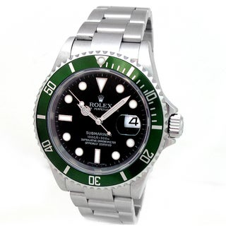 Pre-owned Rolex Men's Submariner Black Dial Green Bezel Stainless Steel Watch