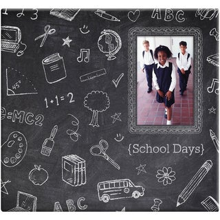 Chalkboard Post Bound Scrapbook W/Window 12inX12in