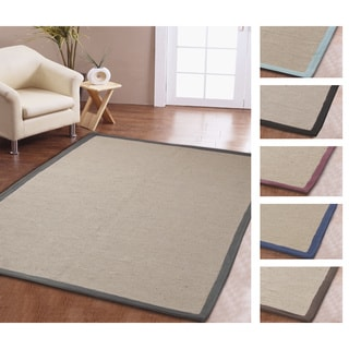 Eco Natural Cotton Border Jute Rug (5' x 8') - 5' x 8'