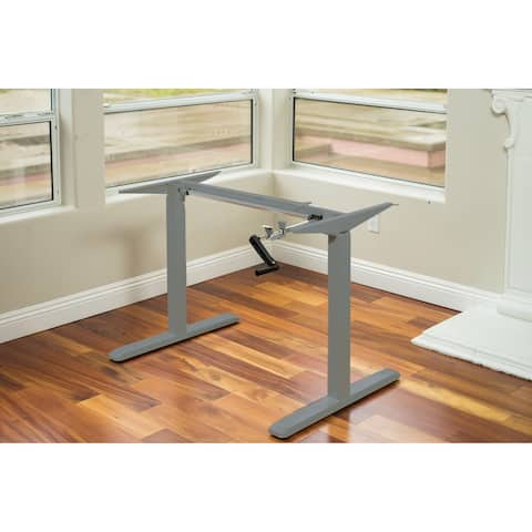 ErgoMax Office Grey Height Adjustable Crank Desk Frame, Tabletop Not Included, 48 Inch Max Height