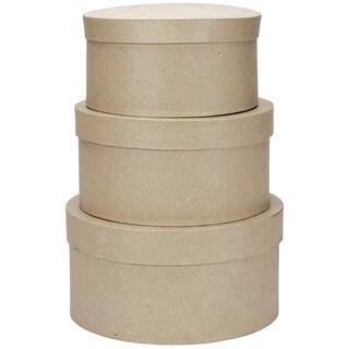 PaperMache Round Box Set 3/Pkg8in, 9in & 10in