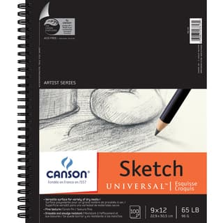 Canson Universal Spiral Sketch Book 9inX12in100 Sheets|https://ak1.ostkcdn.com/images/products/10545136/P17625315.jpg?impolicy=medium