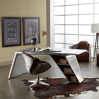Lazzaro Leather Lindbergh Bomber Wing Desk