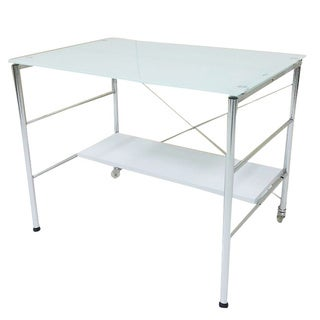 Chrome and Tempered Glass Work Desk