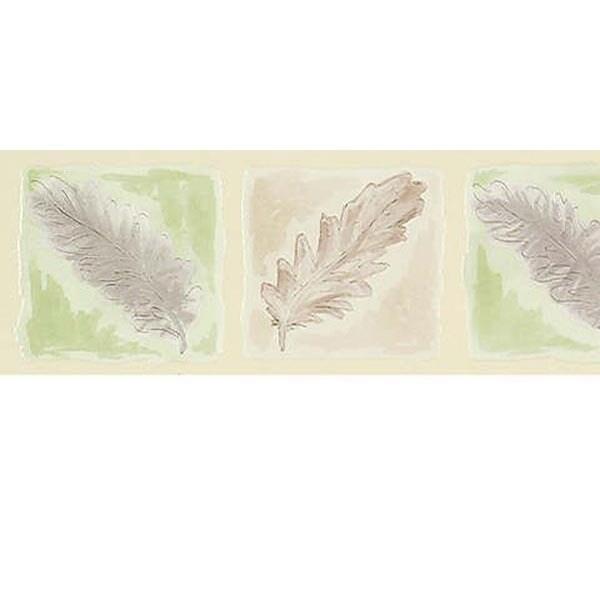 Brewster Green Framed Leaf Wallpaper Border, Beige