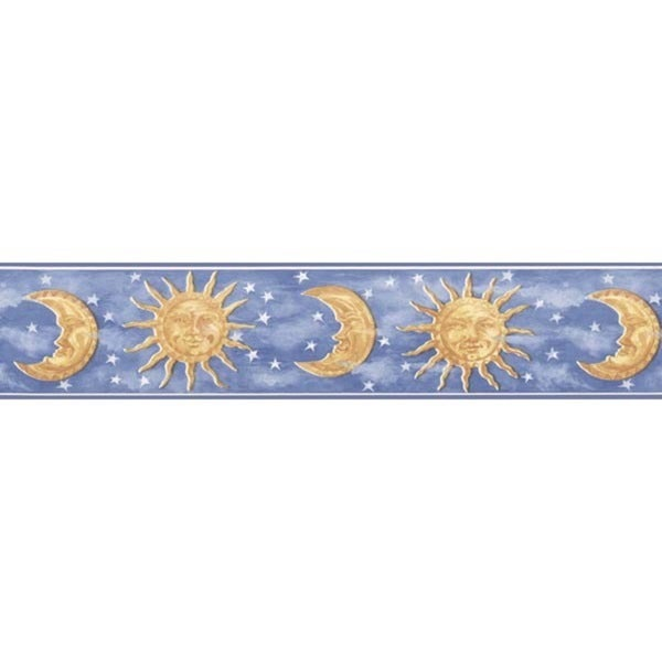 Shop Blue Celestial Wallpaper Border Free Shipping On