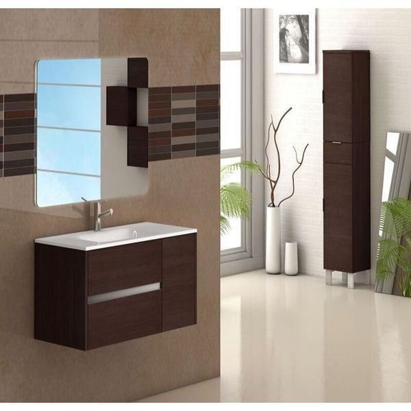 eviva aries 32-inch vanity wenge wall mount bathroom vanity set with integrated porcelain white