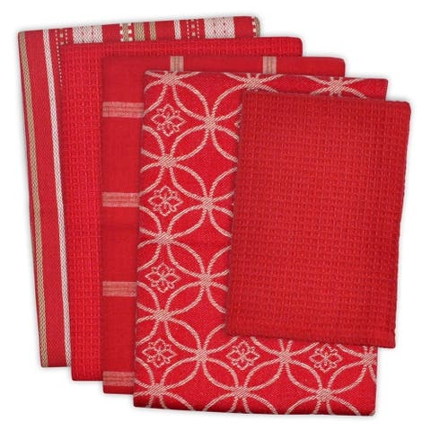 5-piece Contemporary Print Dishtowel Set