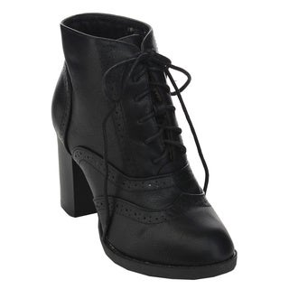 Bellamarie Kenzie-11 Women's Round-toe Perforated Lace-up Chunky Dress Bootie