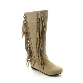 Jacobies Dakota-3 Women's Fashion V Shape Fringe Trim Moccasin Knee-high Boots
