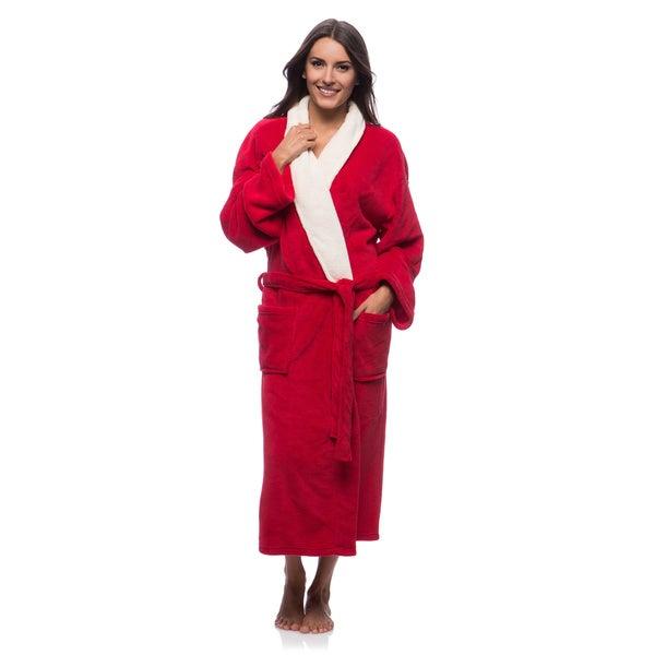 Unisex Scarlet Plush Robe with Cream Collar