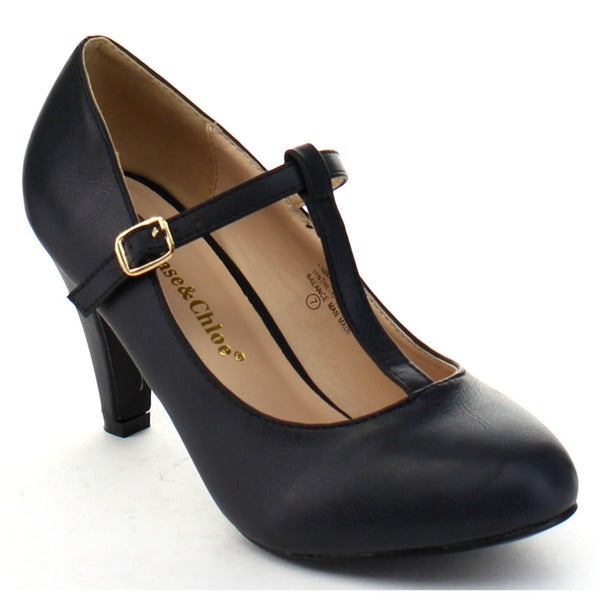 Chase and Chloe Kimmy-31 Women's Basic Round-toe T-strap Mid Heel Dress Pumps