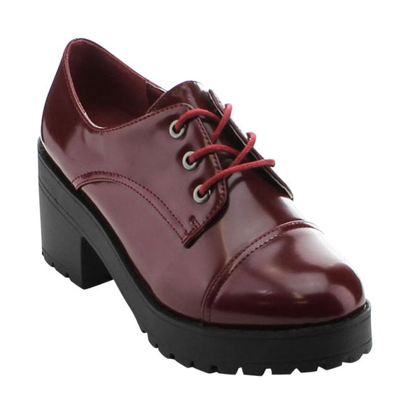 Jacobies Beverly Hills Jess-2 Women's Chic Chunky Heel Lace-up Oxford