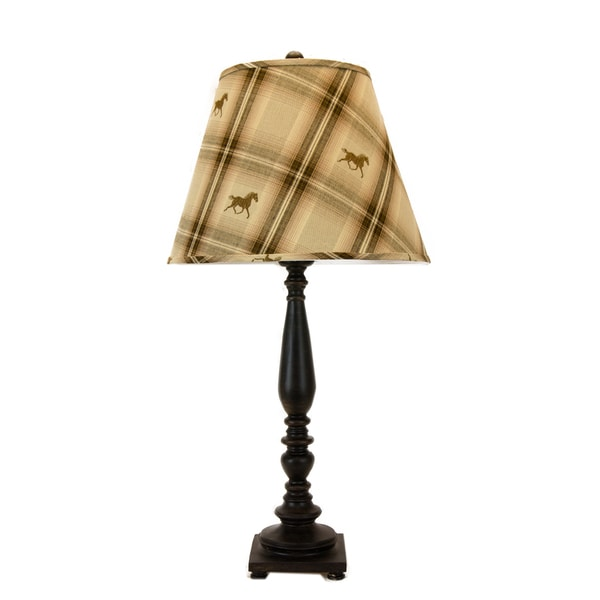Somette Liberty Espresso Plaid Horses 32-inch Table Lamp