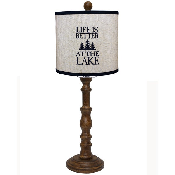 Somette Townsend Brown Lake Quote 21-inch Table Lamp
