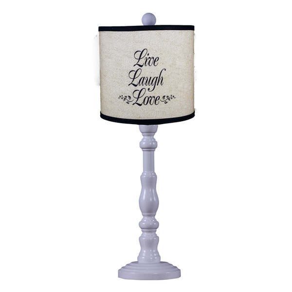 Somette Townsend White 'Live Laugh Love' Quote 21-inch Table Lamp