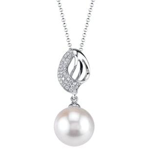 Radiance Pearl 18k Gold White Akoya Pearl 1/8ct TDW Diamond Pendant (8.5-9.0mm, 9.0-9.5mm, 9.5-10mm)