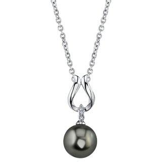 Radiance Pearl 14k Gold Tahitian South Sea Pearl Diamond Accent Pendant (9-10mm, 10-11 mm, 11-12 mm)