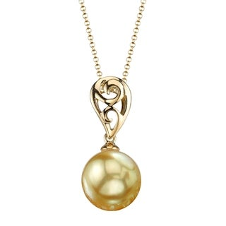 Radiance Pearl 18k Yellow Gold Golden South Sea Pearl Pendant (9-10mm, 10-11 mm)