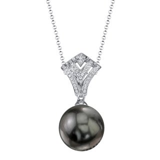 Radiance Pearl 18k Gold Tahitian South Sea Pearl Diamond Accent Pendant (9-10mm, 10-11mm, 11-12 mm)