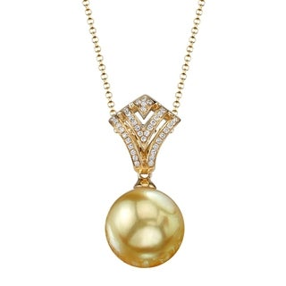 Radiance Pearl 18k Yellow Gold Golden South Sea Pearl Diamond Accent Pendant (9-10mm, 10-11mm, 11-12 mm)