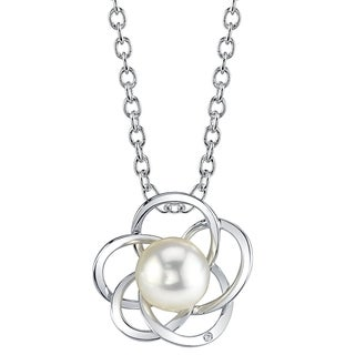 Radiance Pearl 14k Gold White Akoya Pearl Diamond Accent Pendant (8.0-8.5mm, 8.5-9.0mm)