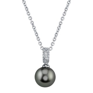Radiance Pearl 14k Gold Tahitian South Sea Pearl 1/10ct TDW Diamond Pendant (9-10mm, 10-11 mm, 11-12 mm)