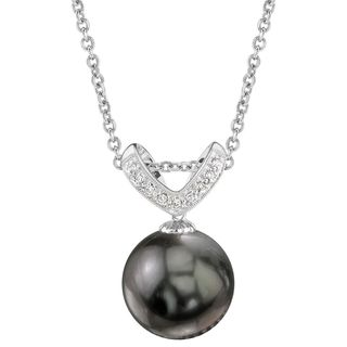 Radiance Pearl 14k Gold Tahitian South Sea Pearl Diamond Accent Pendant (12-13mm, 11-12 mm)