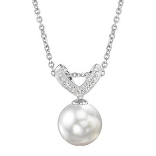 Radiance Pearl 14k Gold White South Sea Pearl Diamond Accent Pendant (11-12 mm)