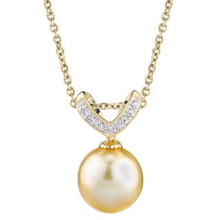 Radiance Pearl 14k Yellow Gold Golden South Sea Pearl Diamond Accent Pendant (11-12 mm)