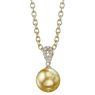 Radiance Pearl 14k Yellow Gold Golden South Sea Pearl Diamond Accent Pendant (9-10 mm)