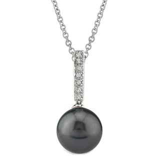 Radiance Pearl 14k Gold Tahitian South Sea Pearl 1/5ct TDW Diamond Pendant (8-9mm, 9-10 mm, 10-11 mm)