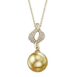 Radiance Pearl 18k Yellow Gold Golden South Sea Pearl 1/10ct TDW Diamond Pendant (9-10mm, 10-11mm, 11-12 mm)