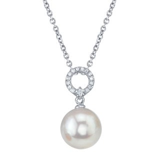 Radiance Pearl 14k White Gold White South Sea Pearl 1/10ct TDW Diamond Pendant (8-9mm, 9-10mm, 10-11 mm)