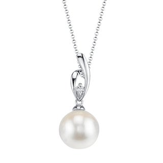 Radiance Pearl 14k Gold White Akoya Pearl Diamond Accent Pendant (8.5-9.0mm, 9.0-9.5mm)