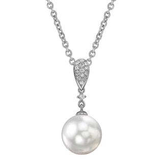 Radiance Pearl 14k Gold White Akoya Pearl 1/10ct TDW Diamond Pendant (8.5-9.0mm, 9.0-9.5mm, 9.5-10mm)