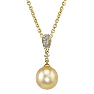 Radiance Pearl 14k Yellow Gold Golden South Sea Pearl 1/10ct TDW Diamond Pendant (9-10mm, 10-11mm, 11-12 mm)