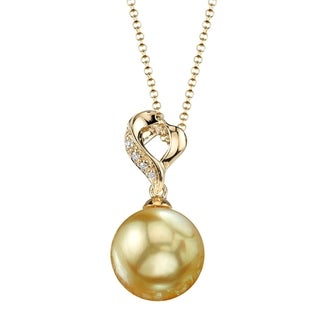 Radiance Pearl 18k Yellow Gold Golden South Sea Pearl Diamond Accent Pendant (9-10mm, 10-11 mm)