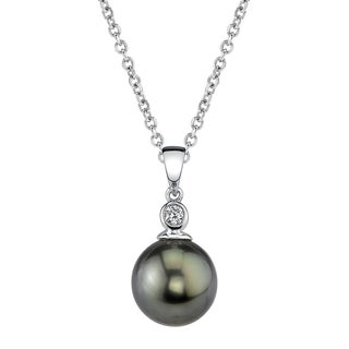 Radiance Pearl 14k Gold Tahitian South Sea Pearl Diamond Accent Pendant (8-9mm, 9-10 mm, 10-11 mm)