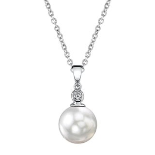 Radiance Pearl 14k Gold White South Sea Pearl Diamond Accent Pendant (9-10mm, 10-11mm , 11-12 mm)