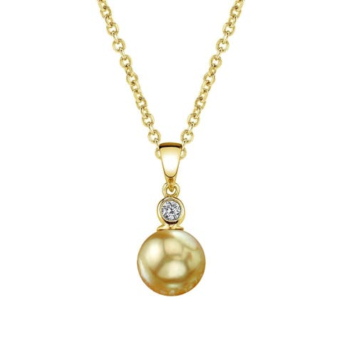 Radiance Pearl 14k Yellow Gold Golden South Sea Pearl Diamond Accent Pendant (10-11, 11-12mm, 9-10 mm)