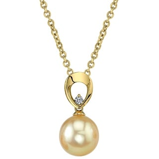 Radiance Pearl 14k Yellow Gold Golden South Sea Pearl Diamond Accent Pendant (9-10mm, 10-11mm, 11-12 mm)