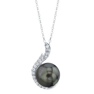 Radiance Pearl 14k Gold Tahitian South Sea Pearl 1/5ct TDW Diamond Pendant (8-9mm, 9-10 mm, 9-10 mm)