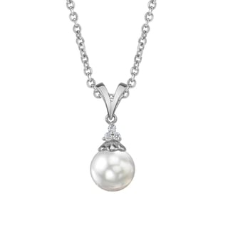 Radiance Pearl 14k Gold White Akoya Pearl Diamond Accent Pendant (8.0-8.5mm, 8.5-9.0mm, 9.0-9.5mm)