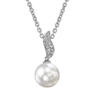 Radiance Pearl 14k Gold White South Sea Pearl 1/10ct TDW Diamond Pendant (9-10mm, 10-11mm , 11-12 mm)