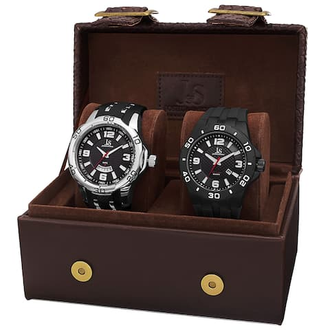 Joshua & Sons Men's Black Strap and Bracelet Watch Set