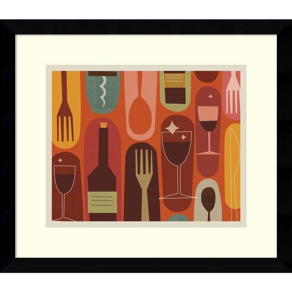 Framed Art Print 'Wine & Dine' by Jenn Ski 15 x 13-inch