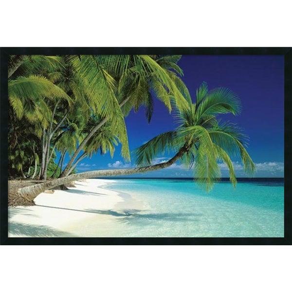Framed Art Print Maldives Beach 38 X 26 Inch Free
