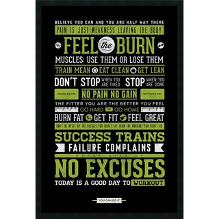 Gym - Motivational' Framed Art Print with Gel Coated Finish 25 x 37-inch