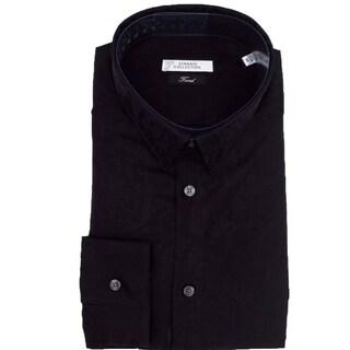 Versace Collection Black Paisley Cotton Long Sleeve Casual Dress Shirt